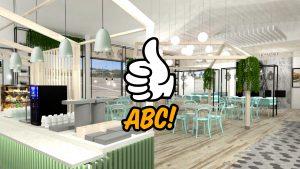 Havainnekuva uudesta Vaalan ABC:sta. Uusi liikennemyymälä on valoisa ja vaalea.